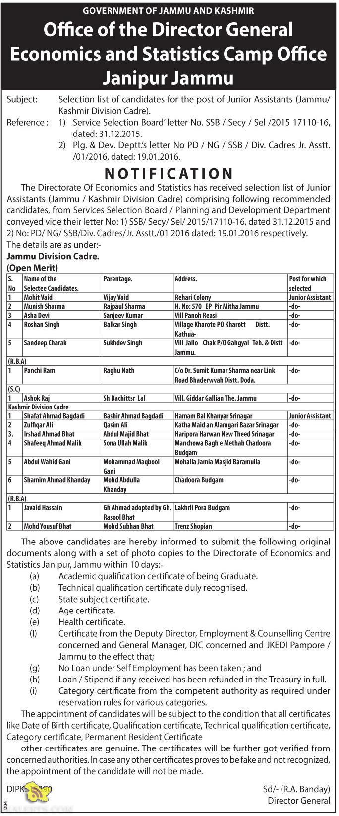 JKSSB Selection list of candidates for the post of Junior Assistants (Jammu/ Kashmir Division Cadre).