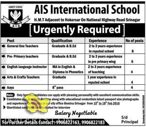 JOBS IN AIS International School H.M.T Srinagar