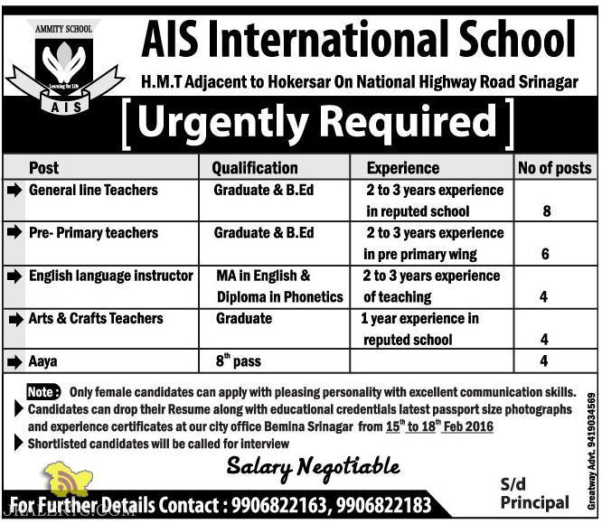 JOBS IN AIS International School H.M.T Srinagar