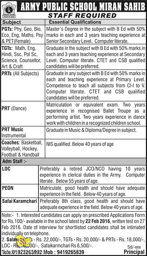 Teaching and Non teaching Jobs in army public school Miran sahib Jammu