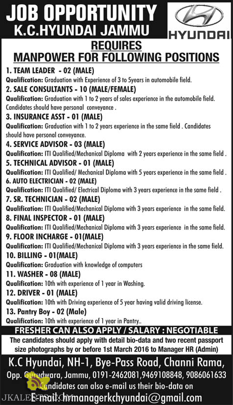 JOBS IN K.C.HYUNDAI JAMMU HYUNDAI DEALERSHIP