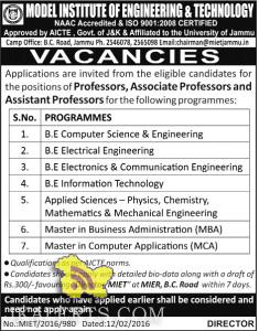 Professors, Associate Professors and Assistant Professors Jobs in MODEL INSTITUTE OF ENGINEERING & TECHNOLOGY