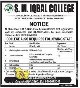 JOBS IN S. M. IQBAL COLLEGE
