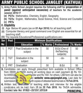 JOBS IN ARMY PUBLIC SCHOOL JANGLOT (KATHUA)
