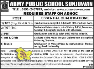 TEACHING JOBS IN ARMY PUBLIC SCHOOL SUNJUWAN