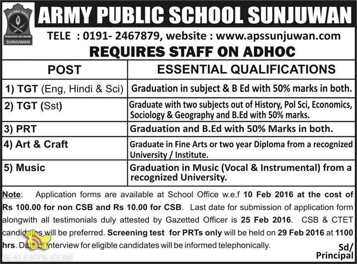 TEACHING JOBS IN ARMY PUBLIC SCHOOL SUNJUWAN