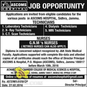 TECHNICIANS, NURSES Jobs in ASCOMS Batra Hospital jammu Sidhra