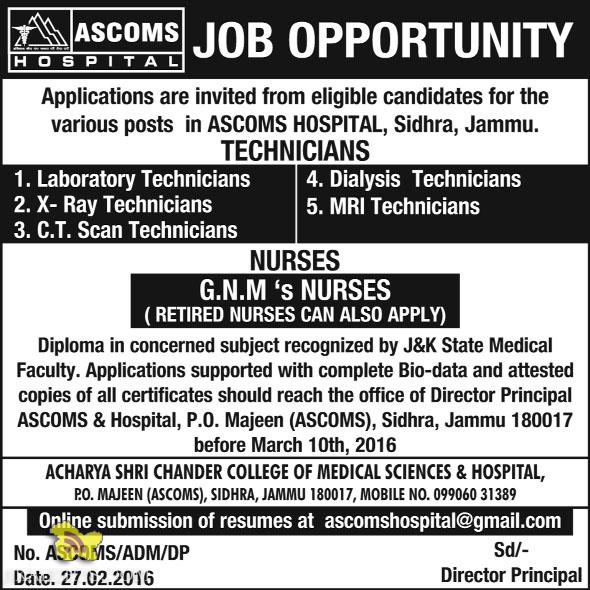 TECHNICIANS, NURSES Jobs in ASCOMS Batra Hospital jammu Sidhra