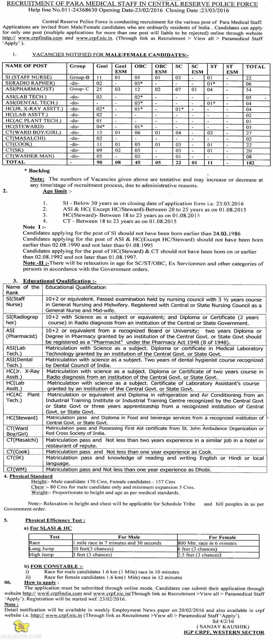 RECRUITMENT OF PARA MEDICAL STAFF IN CENTRAL RESERVE POLICE FORCE.