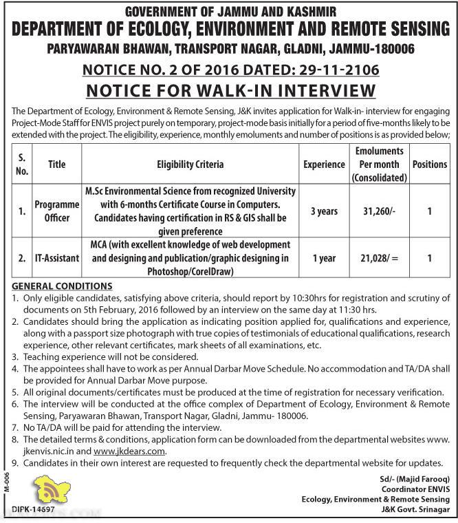 JOBS IN GOVT DEPARTMENT OF ECOLOGY, ENVIRONMENT AND REMOTE SENSING