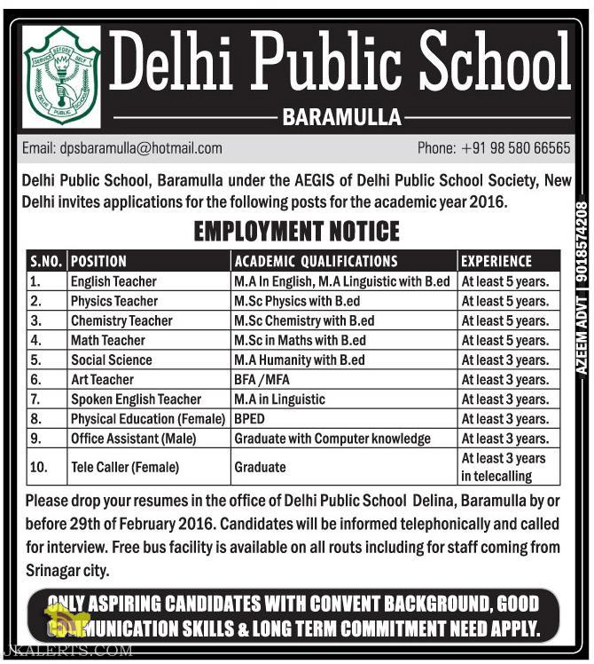 Jobs in Delhi Public School, Baramulla
