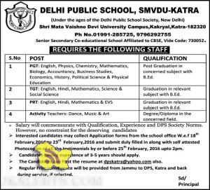 JOBS IN DELHI PUBLIC SCHOOL, SMVDU-KATRA