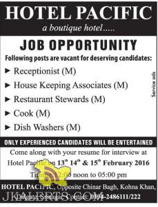 Receptionist, House Keeping Associates, Restaurant Stewards, Cook jobs in hotel pacific srinagar