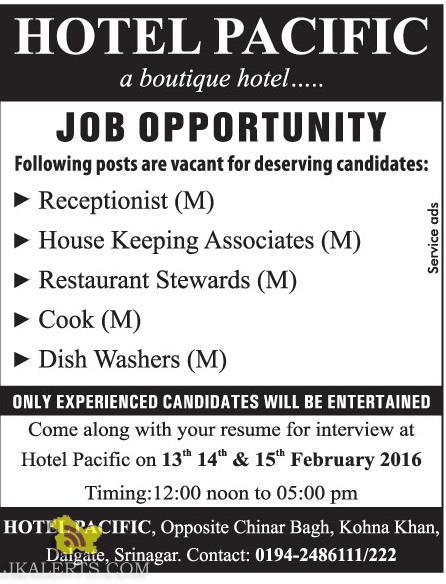 Receptionist, House Keeping Associates, Restaurant Stewards, Cook jobs in hotel pacific srinagar