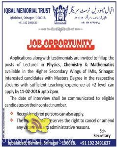 Lecturer jobs in Iqbal Memorial Trust srinagar