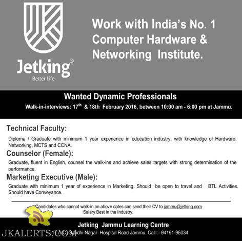 Jobs in Jetking Jammu Learning Centre