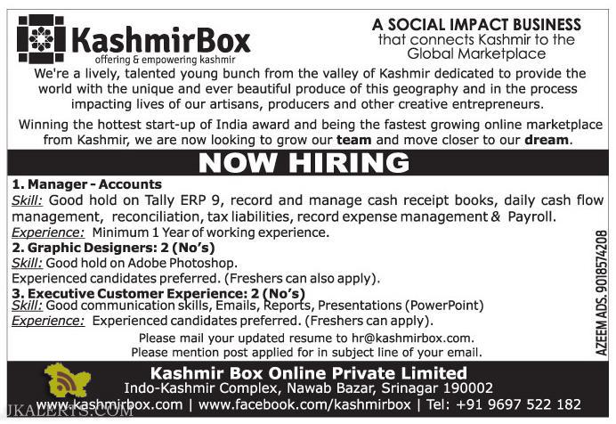 Manager, Graphic Designers, Executive Jobs in kashmir box