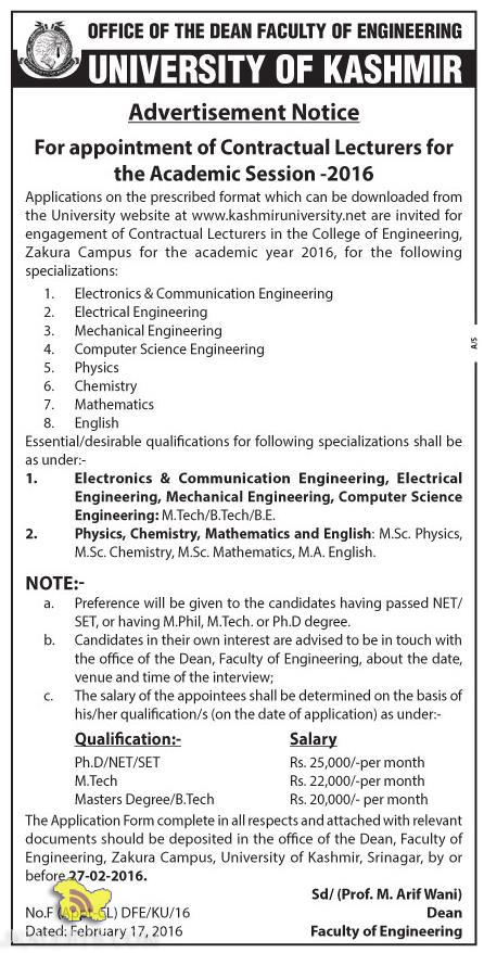 Lecturers Jobs in University of Kashmir, academic session 2016