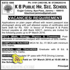 Jobs in K B Public Hr. Sec. School Gujjar Colony, Bye-Pass, Jammu