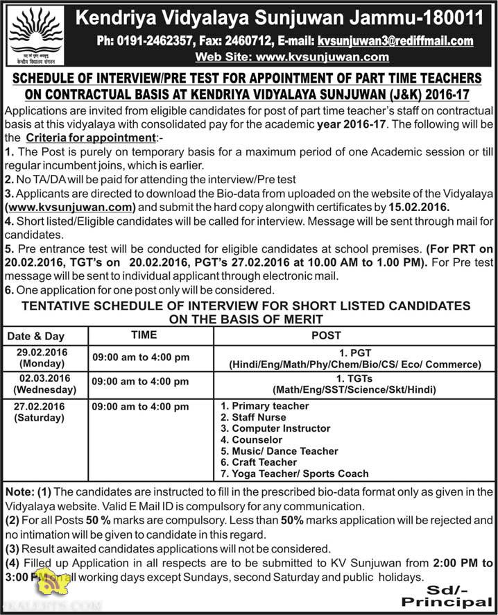 INTERVIEW / PRE TEST FOR APPOINTMENT OF PART TIME TEACHERS KV SUNJUWAN (J&K)
