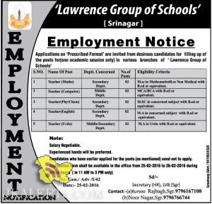 Teaching Jobs in 'Lawrence Group of Schools' Employment Notice