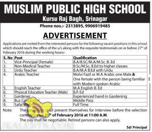 JOBS IN MUSLIM PUBLIC HIGH SCHOOL