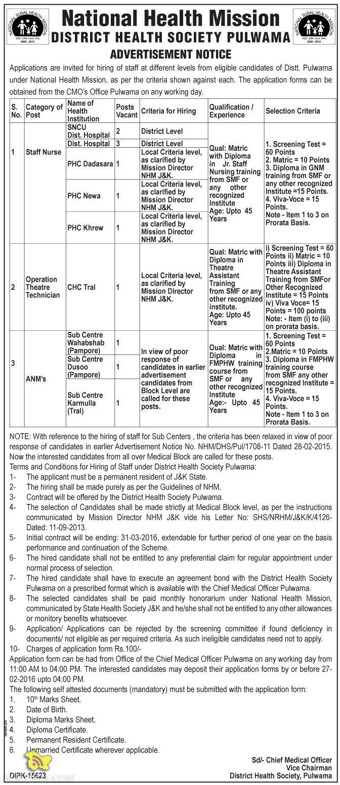 Staff Nurse, Operation Theatre Technician ANM's Jobs in NHM pulwama Srinagar
