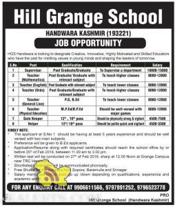 Jobs in Hill Grange School HANDWARA KASHMIR