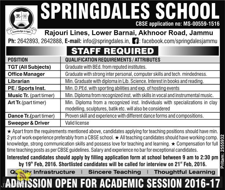 JOB IN SPRINGDALES SCHOOL Akhnoor Road, Jammu
