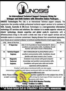 IT Supervisor, Technical Support Engineer, Diagnostic Technical Engineer jobs in srinagar