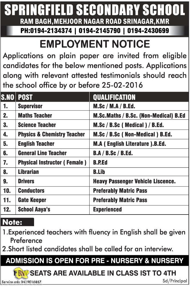 JOBS IN SPRINGFIELD SECONDARY SCHOOL