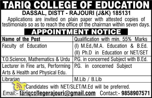 JOBS IN TARIQ COLLEGE OF EDUCATION DASSAL, DISTT - RAJOURI