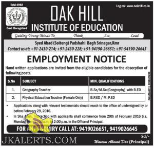JOBS IN OAK HILL INSTITUTE OF EDUCATION EMPLOYMENT NOTICE