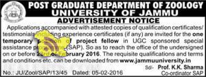 Jobs in Jammu University 2016