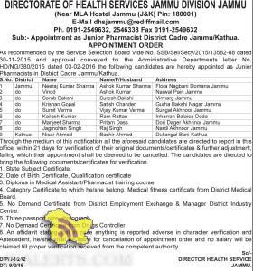 Selection list of Junior Pharmacist District Cadre Jammu/Kathua