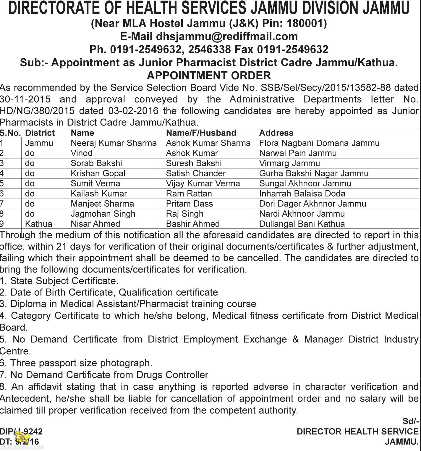 Selection list of Junior Pharmacist District Cadre Jammu/Kathua