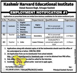 Jobs in Kashmir Harvard Educational Institute