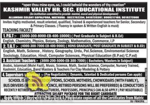 JOBS IN KASHMIR VALLEY HR. SEC. ERUCATIONAL INSTITUTE