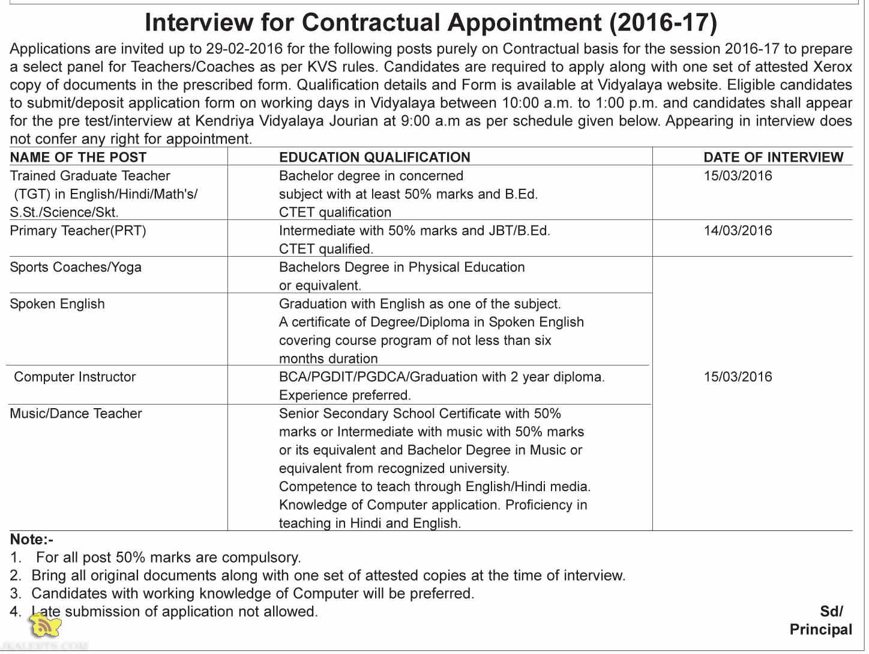 Jobs in Kendriya Vidyalaya Jourian