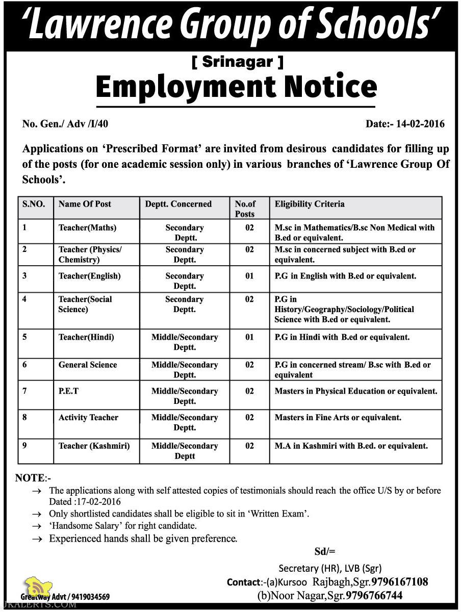 Jobs in Lawrence Group of Schools Srinagar