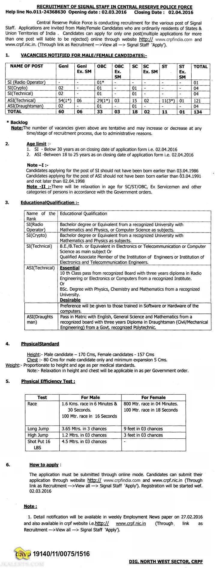 RECRUITMENT OF SIGNAL STAFF IN CENTRAL RESERVE POLICE FORCE