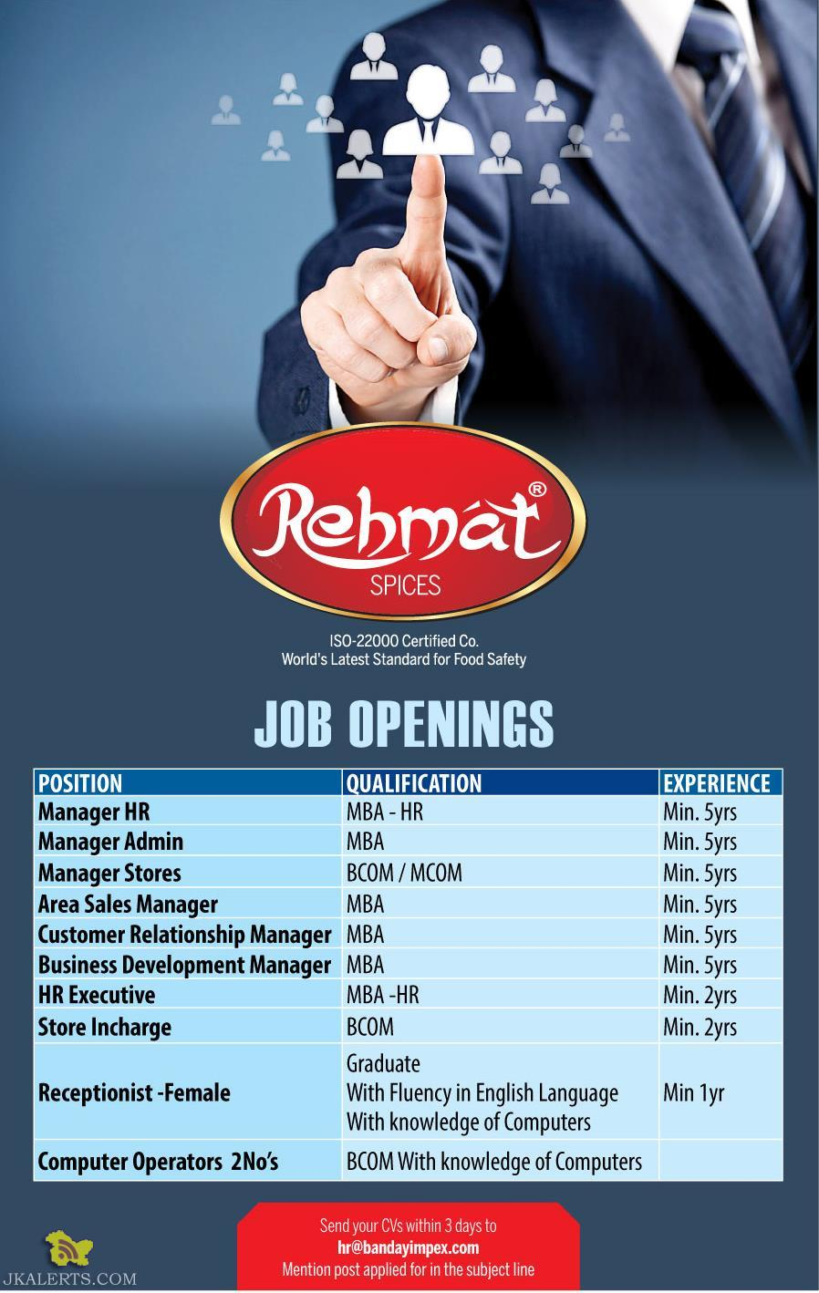 JOBS IN REHMAT SPICES SRINAGAR