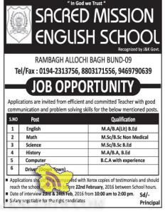 JOBS IN SACRED MISSION ENGLISH SCHOOL