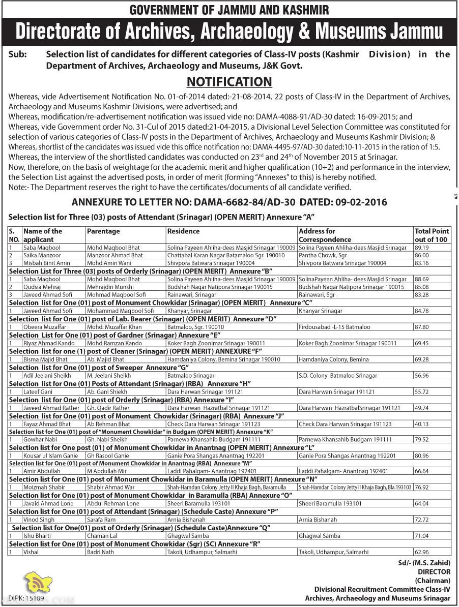 Selection list of Class-IV posts Department of Archives, Archaeology and Museums, J&K Govt