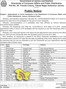 Selectionlist Junior Assistants in the Department of Consumer Affairs and Public Distribution, Jammu