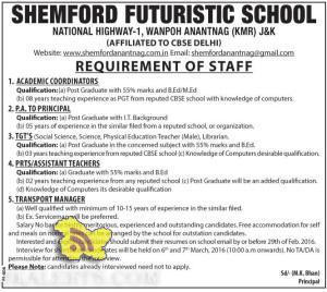 JOBS IN SHEMFORD FUTURISTIC SCHOOL WANPOH ANANTNAG (KMR)
