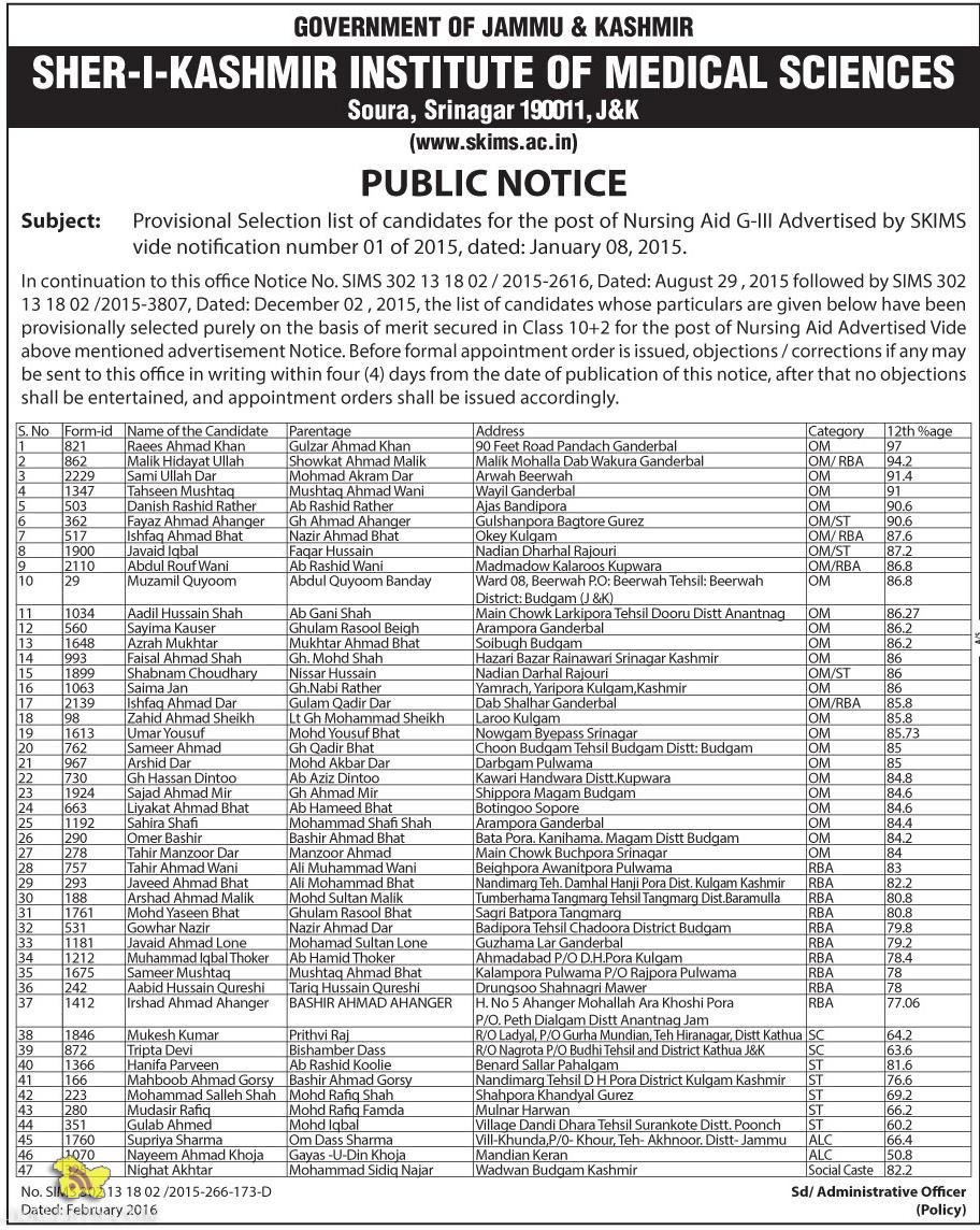 Provisional Selection list of candidates for the post of Nursing Aid G-lll Advertised by SKIMS