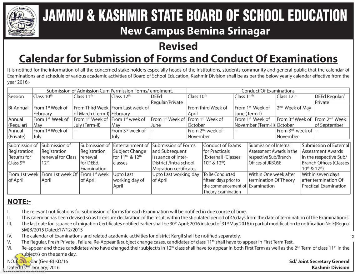 JKBOSE dates and schedule Calendar for Submission of Forms and Conduct Of Examinations