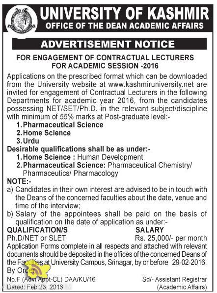 JOBS IN UNIVERSITY OF KASHMIR, LECTURERS FOR ACADEMIC SESSION -2016