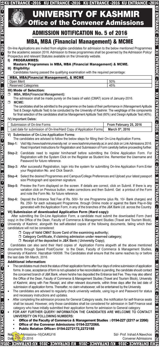 Admission open in MBA, MBA (Financial Management) & MCME UNIVERSITY OF KASHMIR
